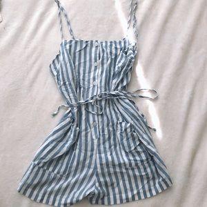 Forever 21 blue and white pinstripe romper